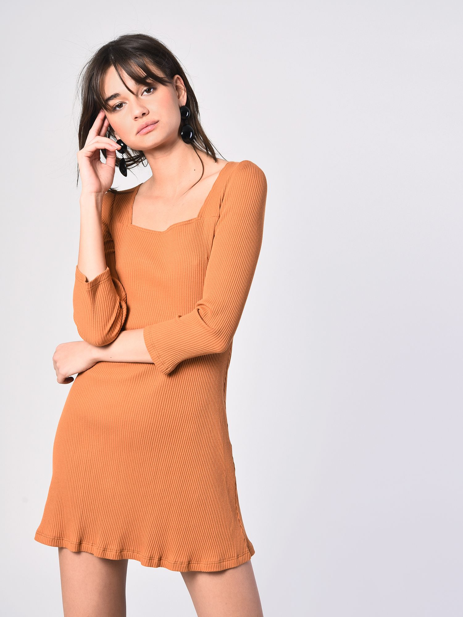 9901805b152 Tan Ribbed Square Neck Skater Dress- £20.00