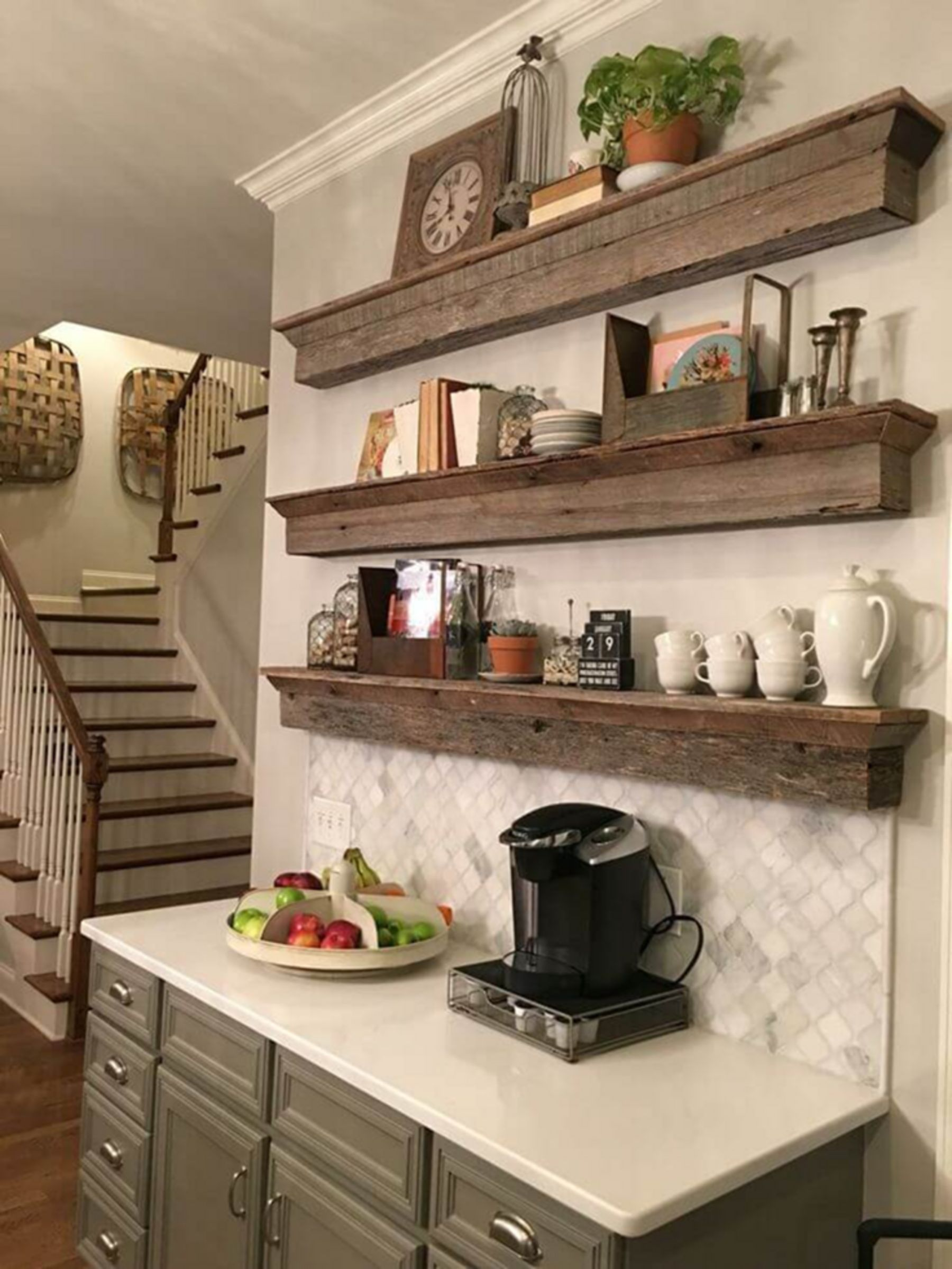 10 Popular Kitchen Wood Shelf Design Ideas To Make Your Cooking Easy Moolton In 2020 Floating Shelves Kitchen Coffee Bar Home Wood Shelves Kitchen