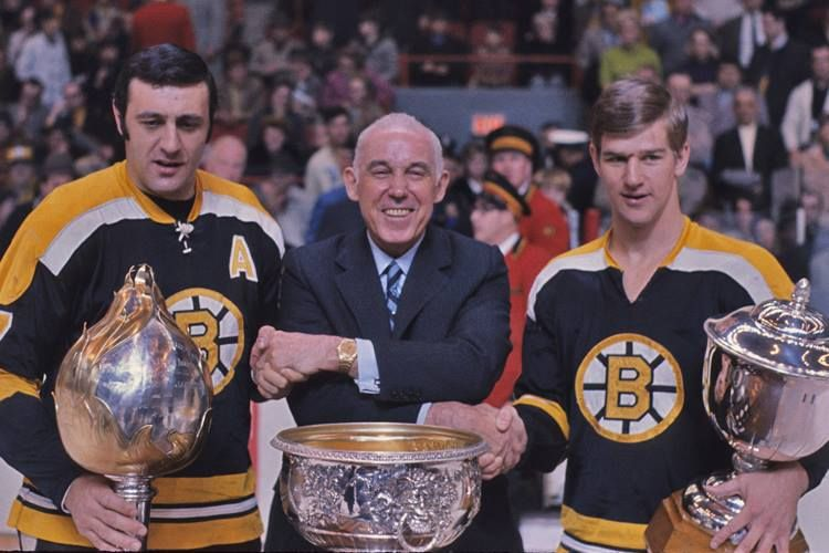 Phil Esposito, Clarence Campbell & Bobby Orr Boston