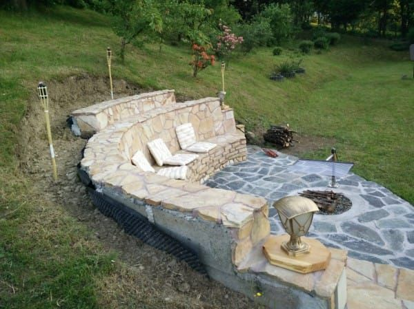 They Built A Fireplace Into Their Hill And The Results Are Stunning Outside Fire Pits Backyard Fire Outdoor Fire Pit
