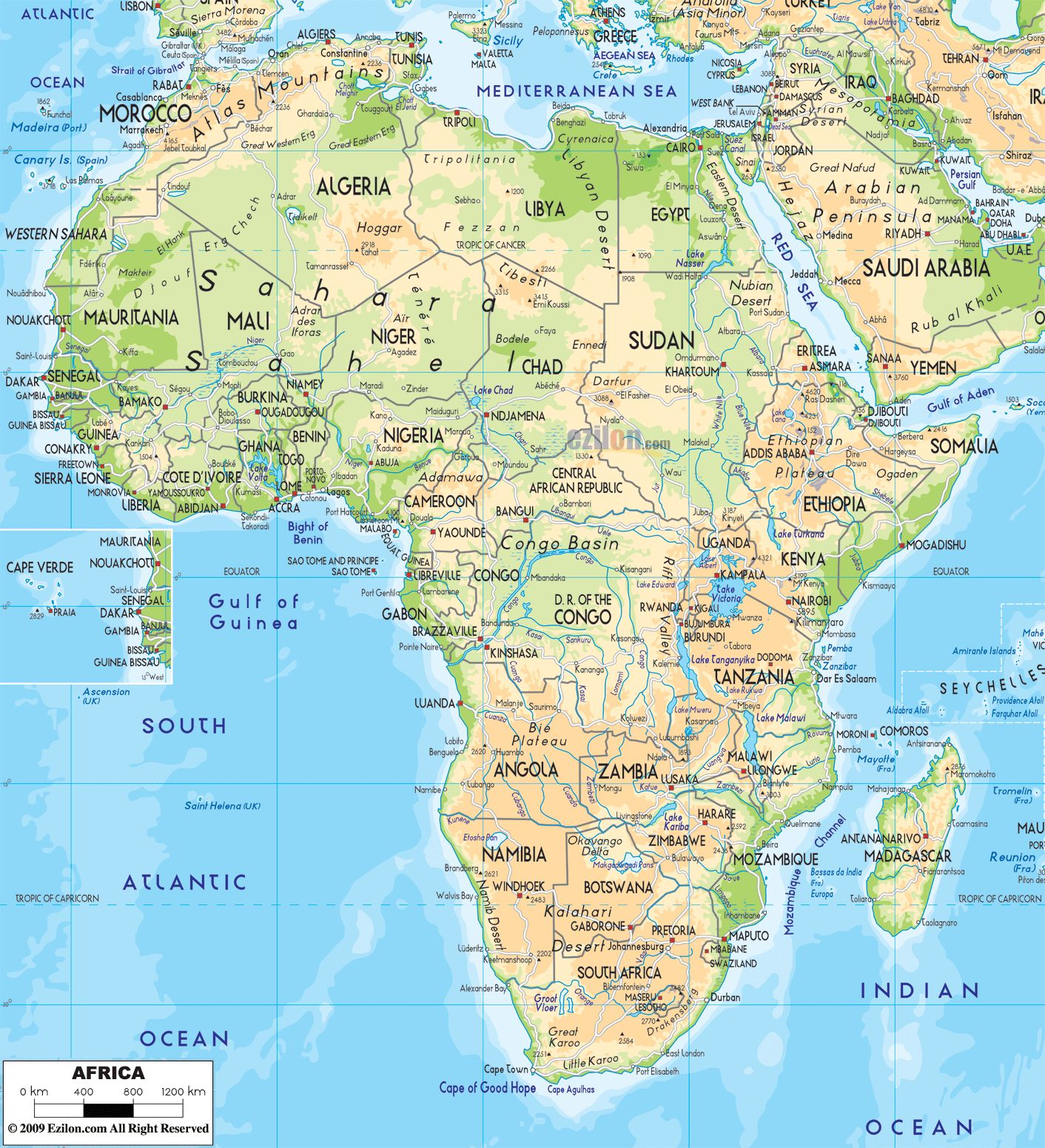 This is a physical map of Africa. As you can see, Africa ...