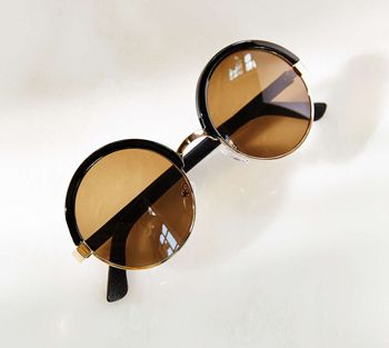 Leather-Wrap Round Sunglasses, $20