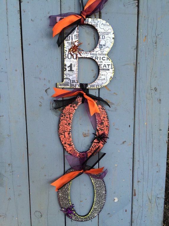 Large Halloween BOO Door Hanger Halloween by princessandthemonkey