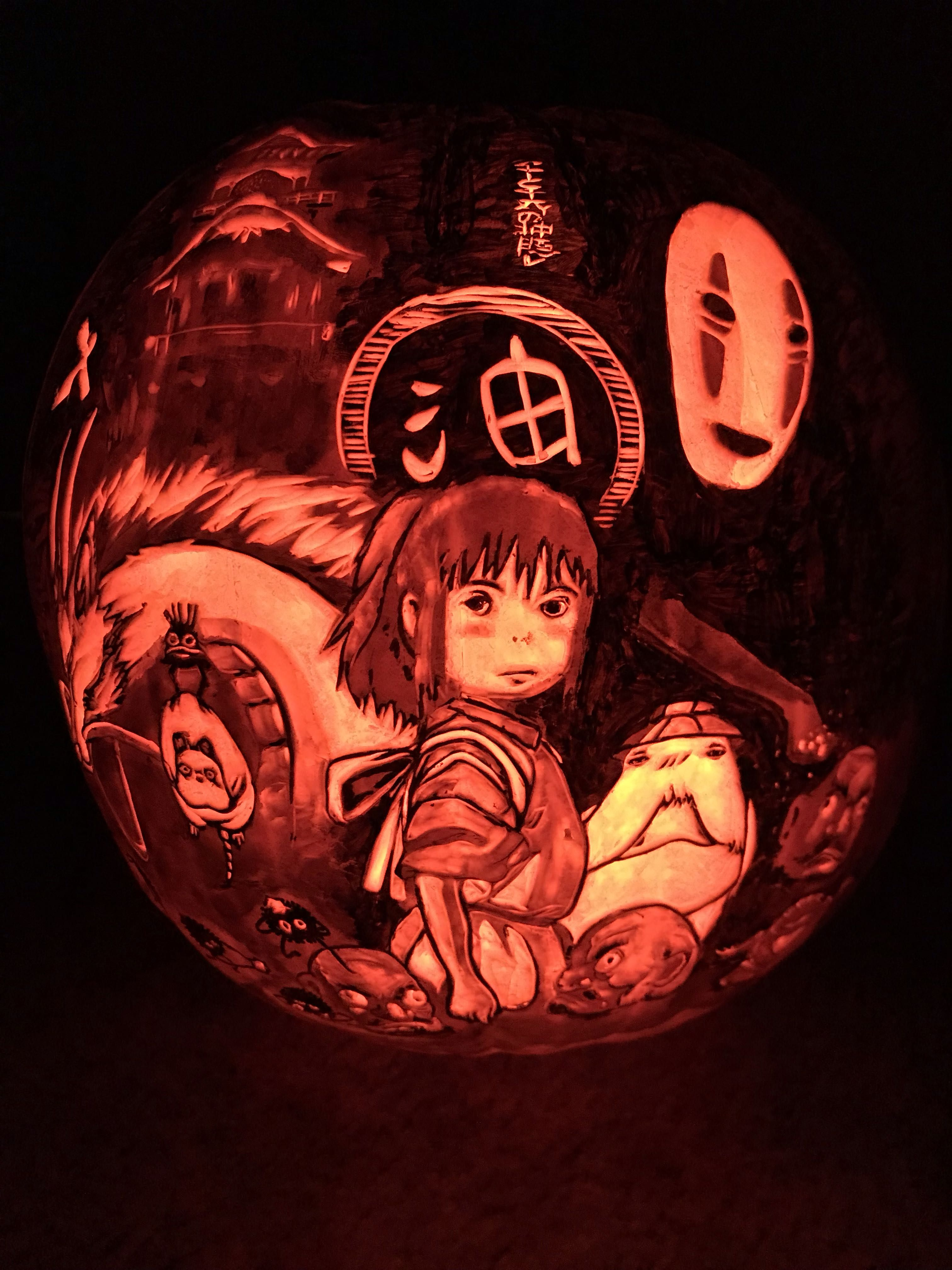 I Carved A Spirited Away Pumpkin Happy Halloween Happy Halloween Spirited Away Carving