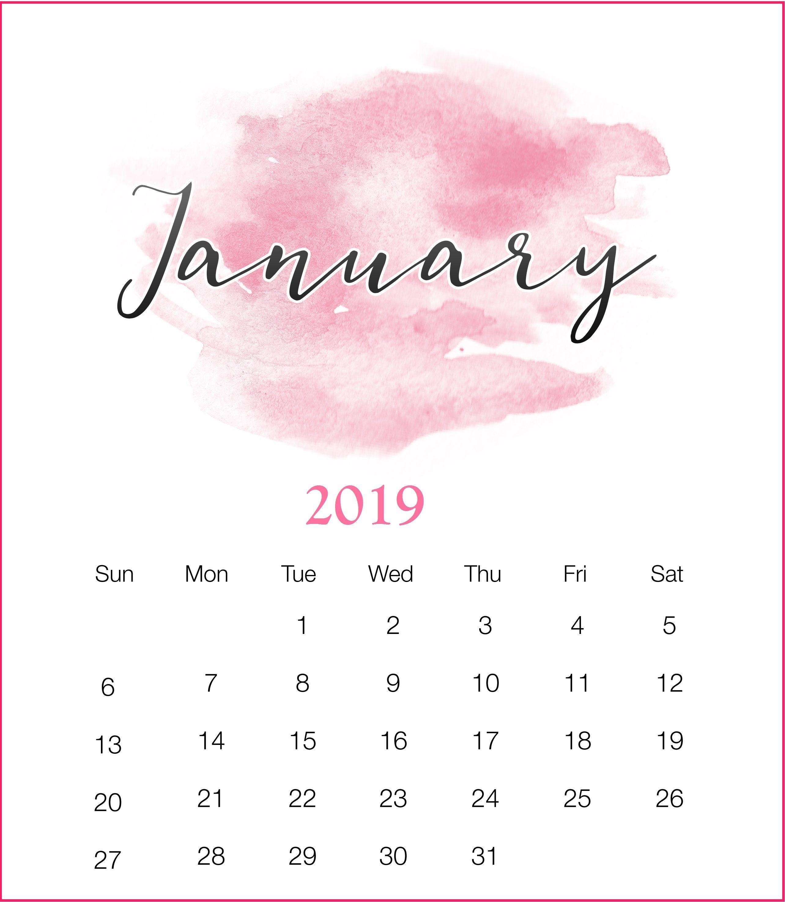 Watercolor 2019 January Printable Calendar Watercolorjanuary 2019