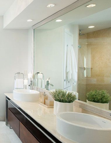 Recessed Lighting In Modern White Bathroom
