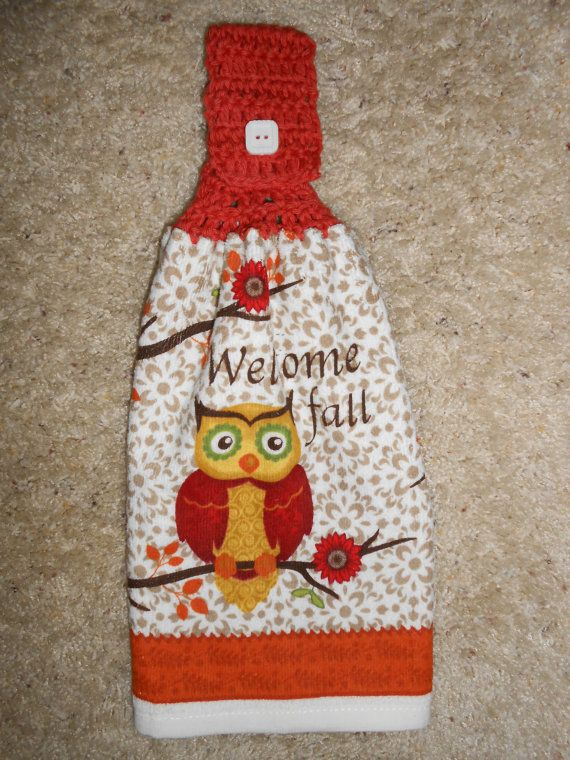 Fall, Owl Hanging Kitchen, Crochet Top Towel, Double and Reversible by CrochetandOrnaments, $6.95