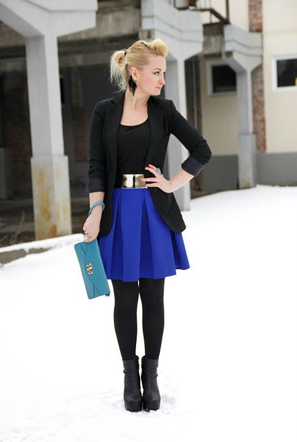 6127c65c1 Use with royal blue skirt, black blazer and black tank, black tights and  black ankle boots.