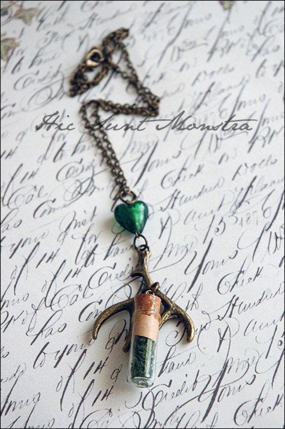 The Wild Ones - pagan tribal necklace with deer antler, crystal or glass connector and vintage glass vial  filled with moss by hicsuntmonstra on Etsy