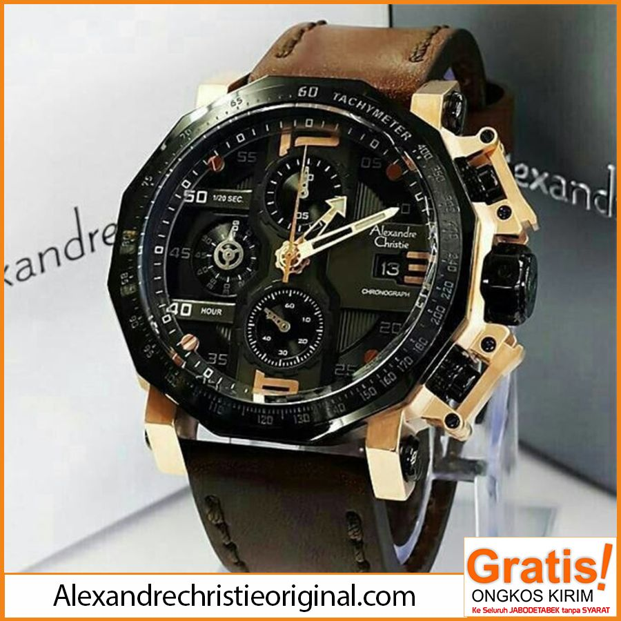 Jam Tangan Alexandre Christie Pria AC 6373 Chronograph Black Hub   0822  9947 3420 d7f571bcf8