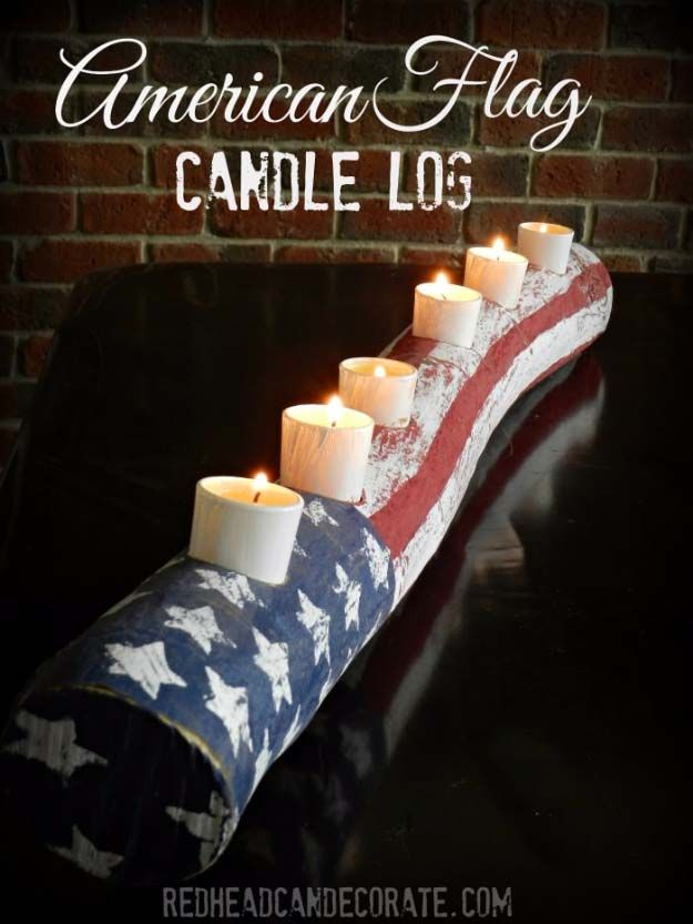American flag inspired diy projects to show your patriotic side do rustic diy ideas with the american flag patriotic flag country crafts and diy projects for the home and backyard patriotic diy candle holder log solutioingenieria Gallery