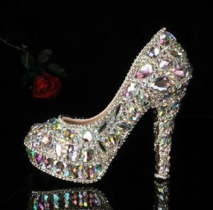 New High Heel Bridal Shoes Crystal Platform Party Pumps size US 4.5-9 Handmade