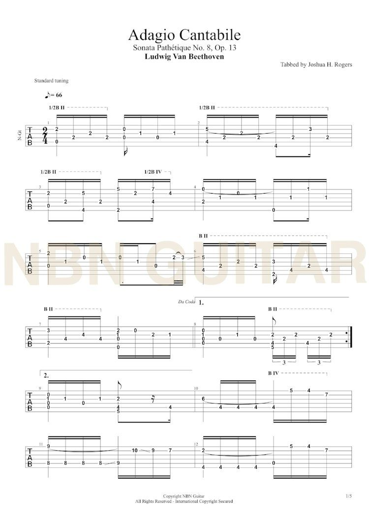Adagio Cantabile - Free Classical Guitar Tabs | guitar sheet music