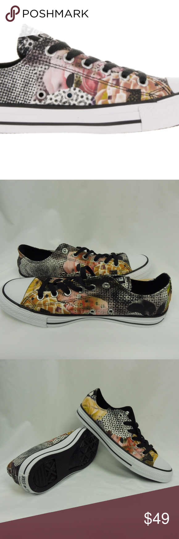 6781a1a0a14a CONVERSE CT AS DIGITAL FLORAL OX BLACK WHITE CONVERSE CT AS DIGITAL FLORAL  OX BLACK WHITE SNEAKERS WOMEN SIZE 9 553299F Converse Shoes Sneakers