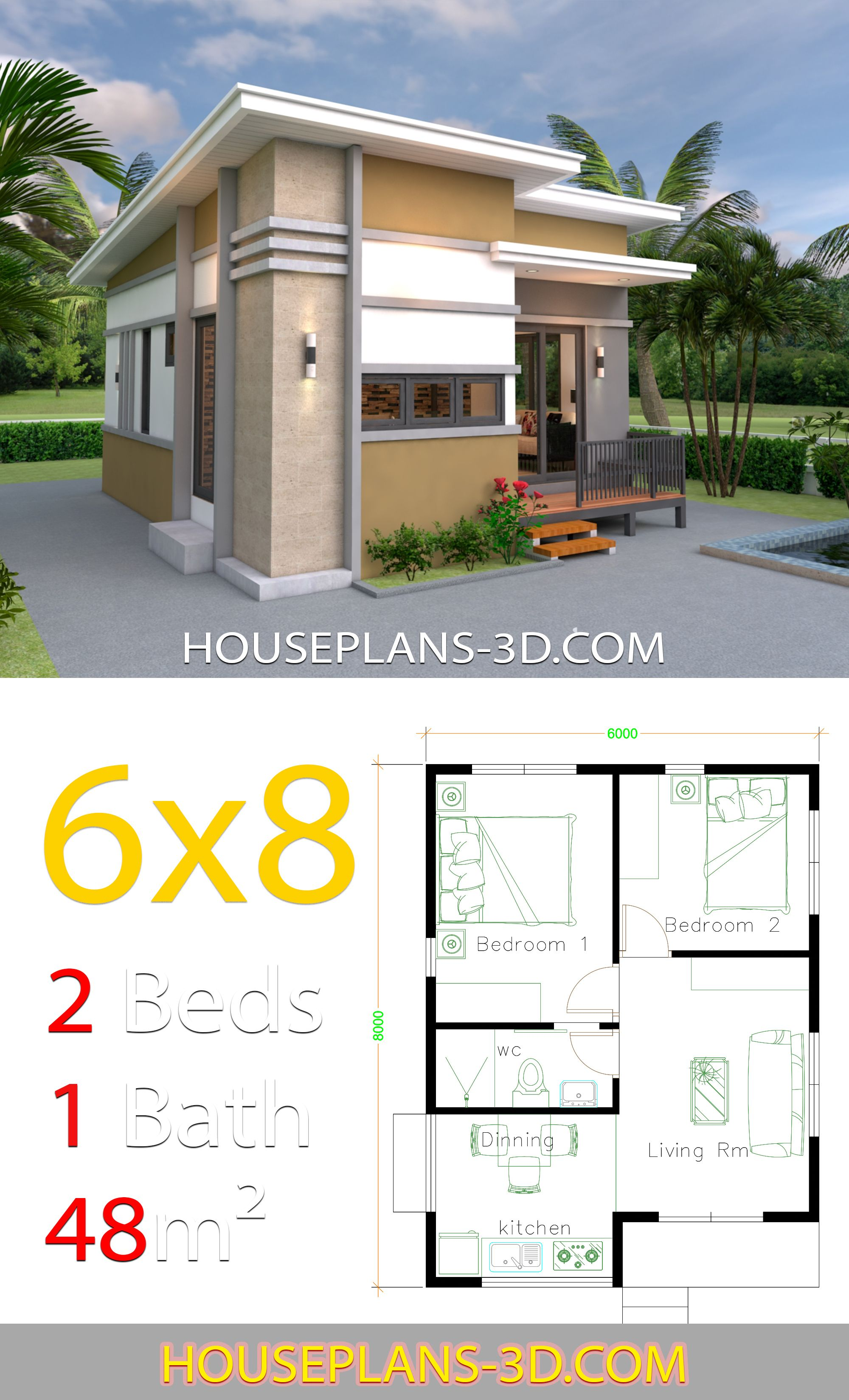 Small House Design Plans 6x8 With 2 Bedrooms House Plans 3d In 2020 Small House Design Plans Small House Layout House Plans