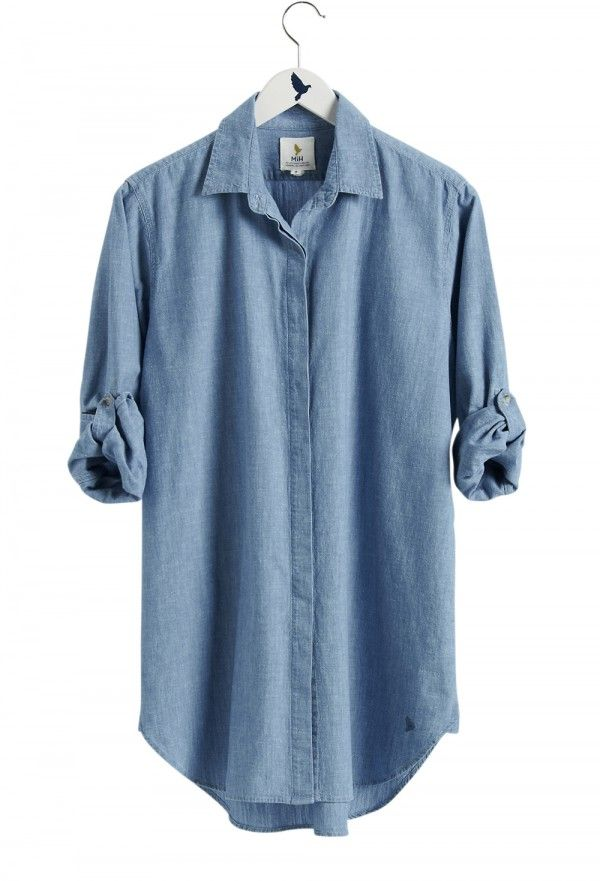 The oversize shirt women 39 s shirt extra long shirt for Chambray shirt women