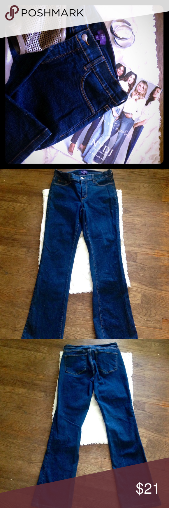 """Not your daughters jeans NYJD, dark denim boot cut Dark denim boot cut jeans by NYDJ (not your daughters jeans). Worn once, excellent condition! Featured in last minutes of Vogue magazine three times. Size 10 and I believe long although it doesn't say, but I'm 5'9"""" tall and they were long enough for me. Reminder 30% off on my bundles of just a minimum of two or more items. Bundle up and save on shipping this includes any offers you may bring to me. NYDJ Jeans Boot Cut"""