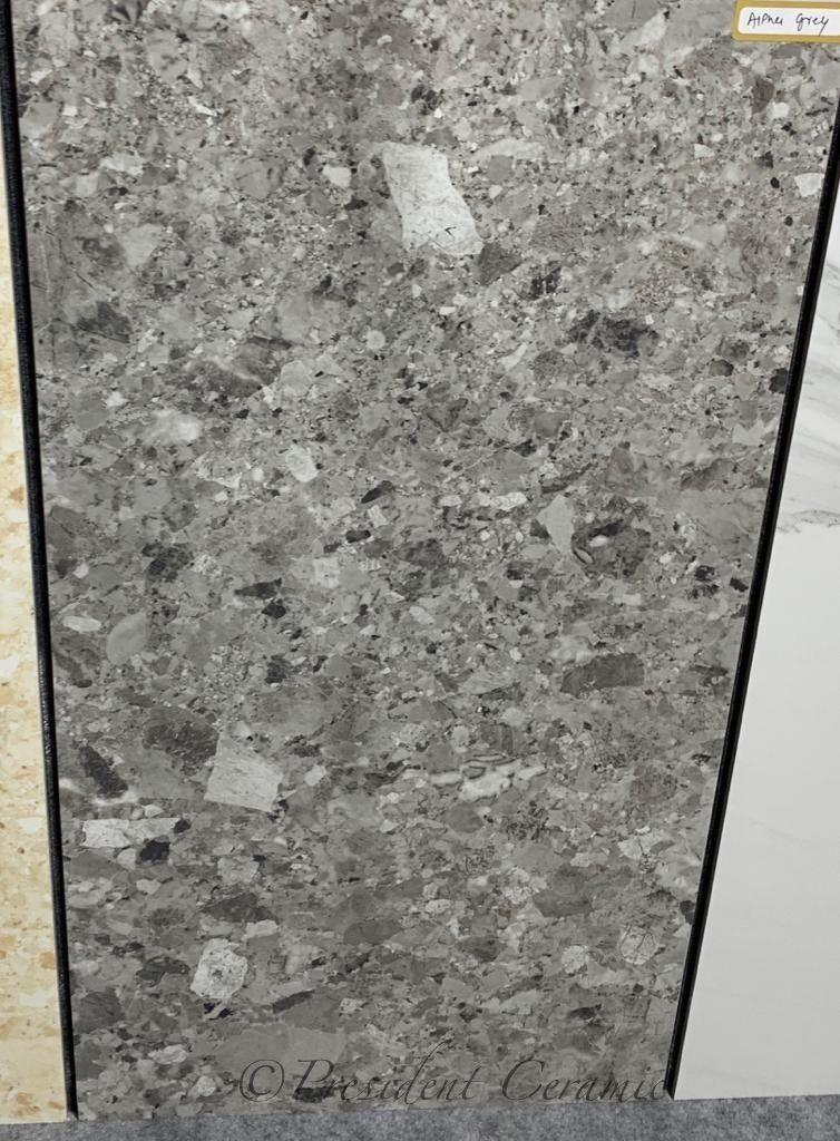 Alpha Grey Glazed Porcelain Terrazzo Tiles Grey