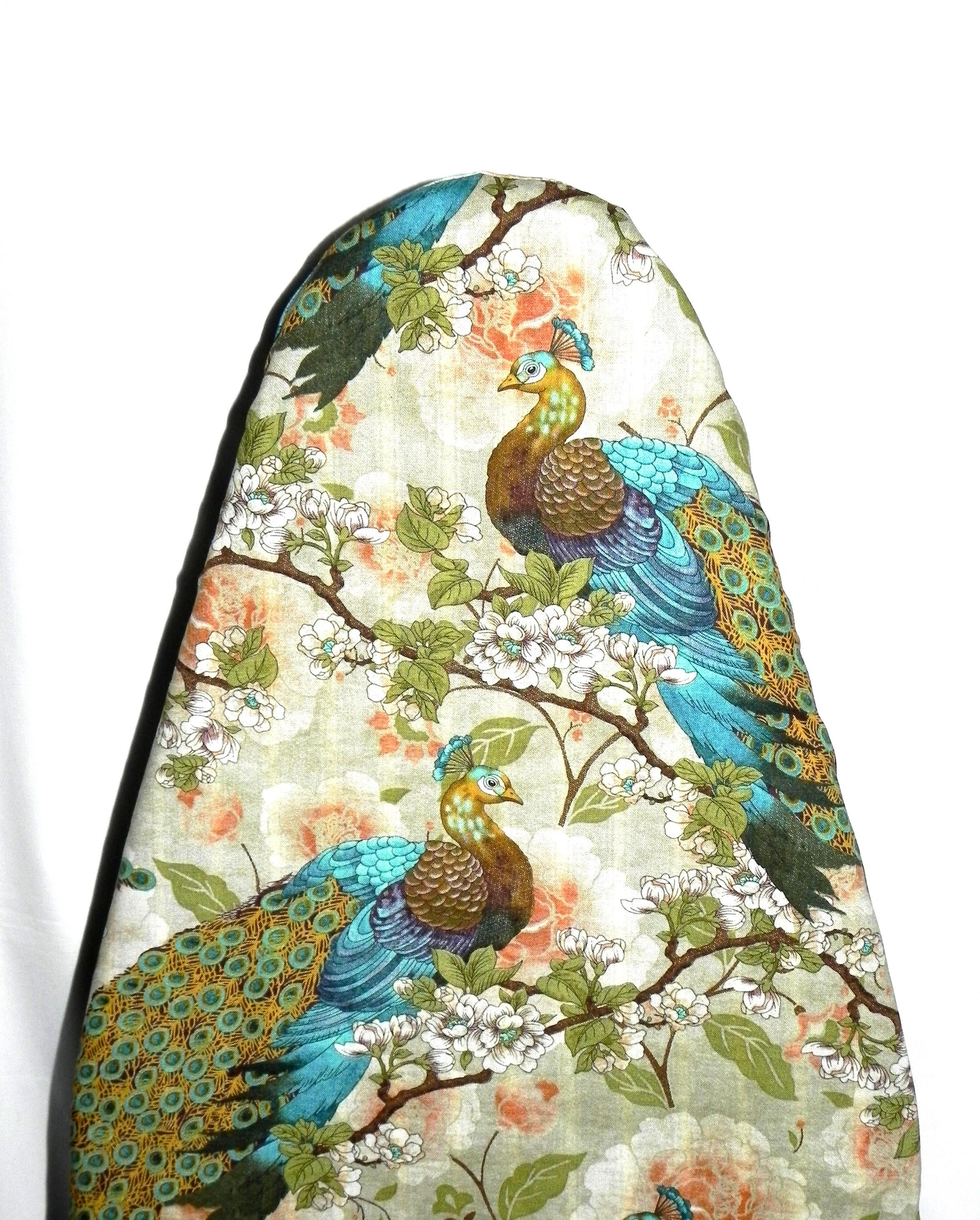 Tabletop Ironing Board Cover   Peacocks In Teal Blue, Brown, Cream, Coral  And