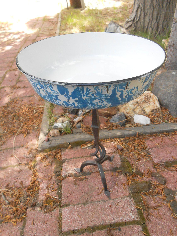 Rustic Enamelware And Wrought Iron Bird Bath Upcycled Metal Birdbath Bird Bath Enamelware Wrought Iron