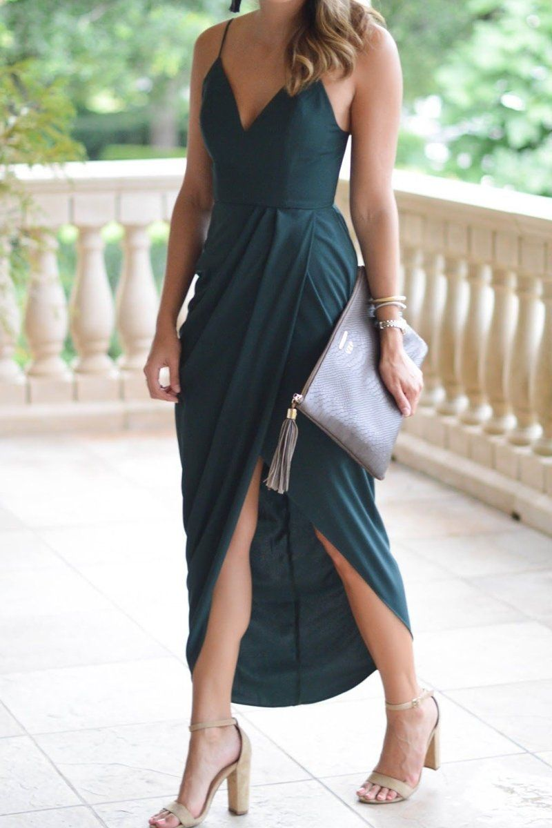 Macloth Spaghetti Straps V Neck High Low Cocktail Party Dress Dark Green Formal Gown Wedding Attire Guest Maxi Dress Wedding Guest Attire [ 1200 x 800 Pixel ]