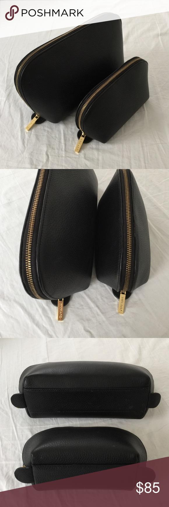 Cuyana Travel Case Set Black Pebbled Leather Black
