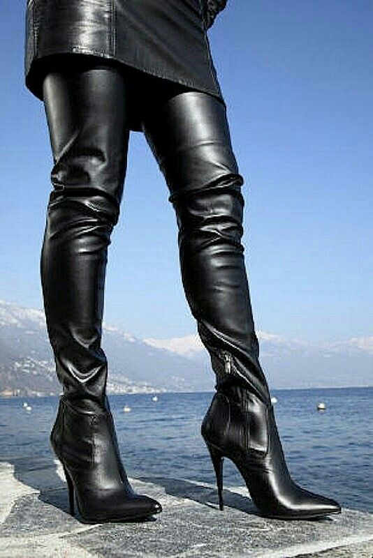 Black leather dress and thigh boots