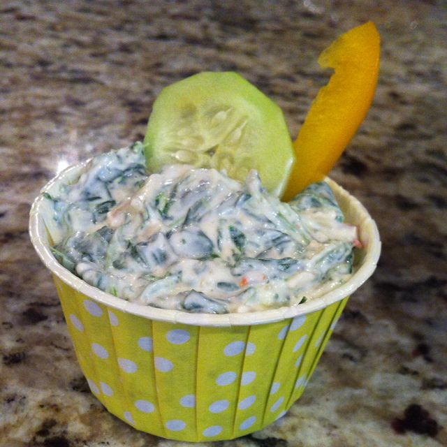 Spinach dip in candy cups! Made it easy for everyone to enjoy