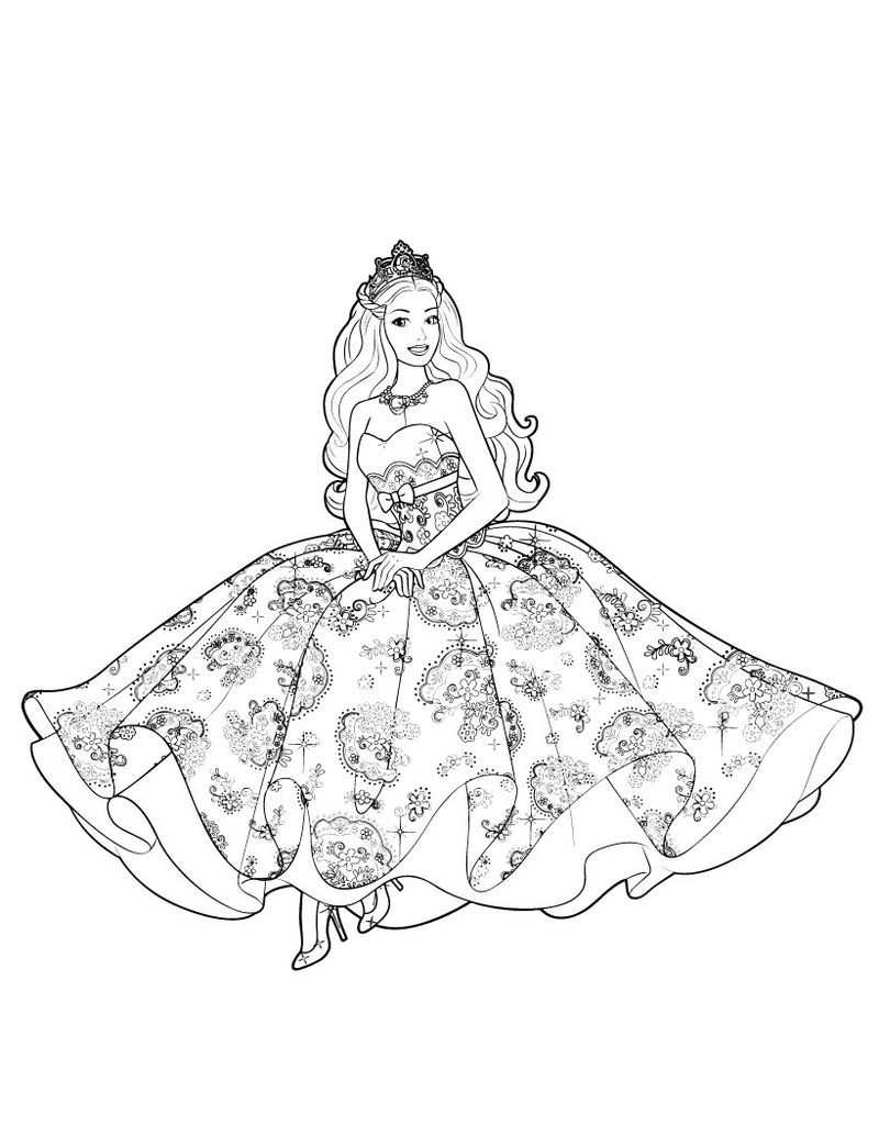 Barbie Princess Gown Coloring Page Disney Princess Coloring Pages Barbie Coloring Pages Mermaid Coloring Pages