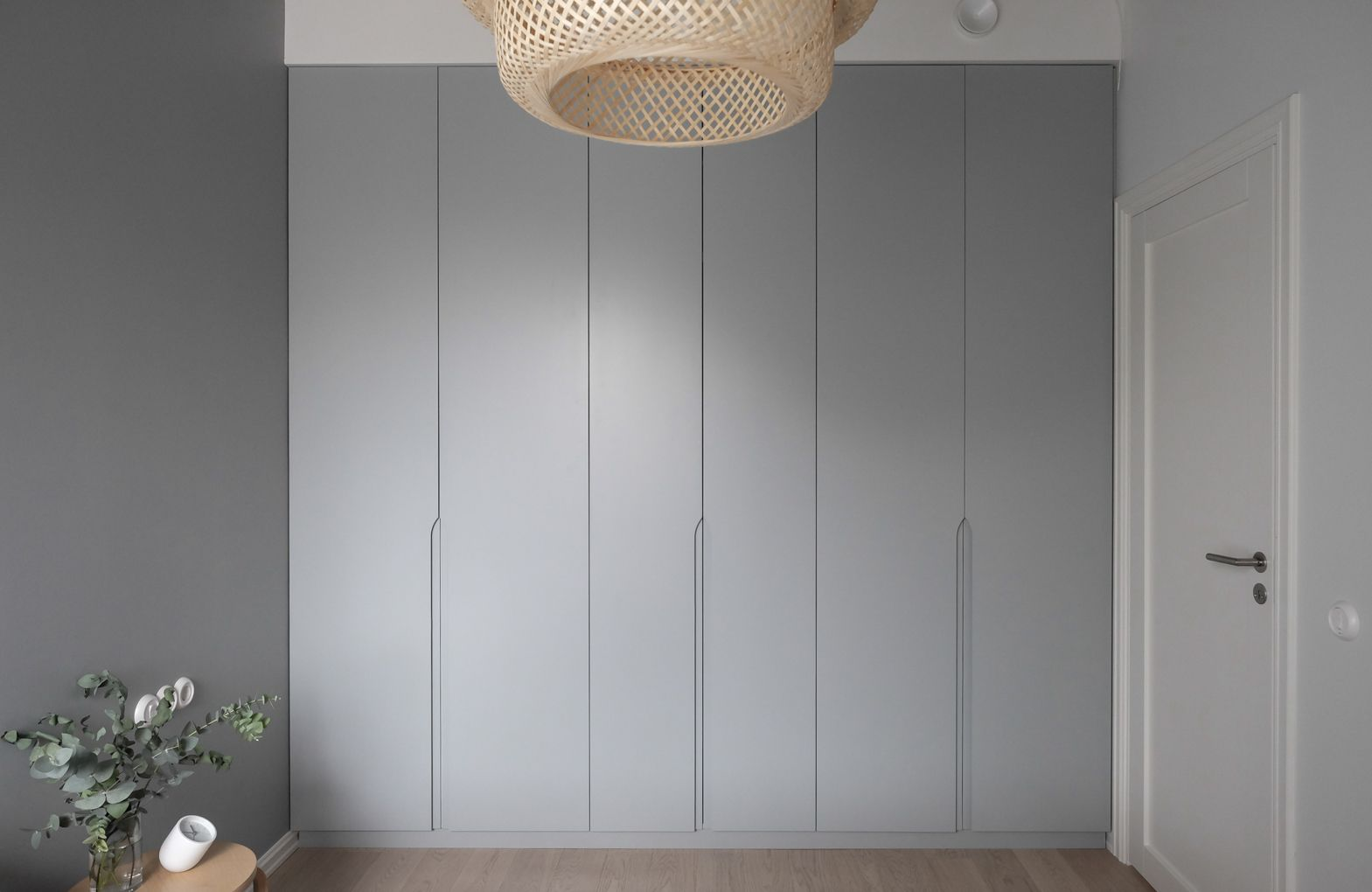 Minimalist Built In Wardrobe Grey Doors With Recessed