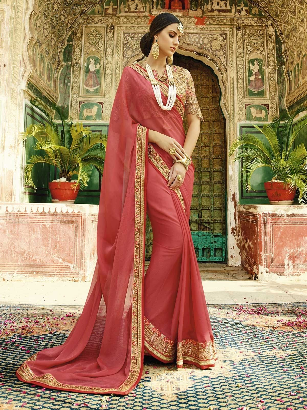c4a05185d4207 Buy latest dark peach color embroidered wedding saree for women at  affordable prices from ZaraaFab. Check our latest collection of peach color  sarees and ...