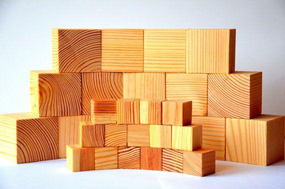 30 Montessori handmade wooden toy building by KlikKlakBlocks