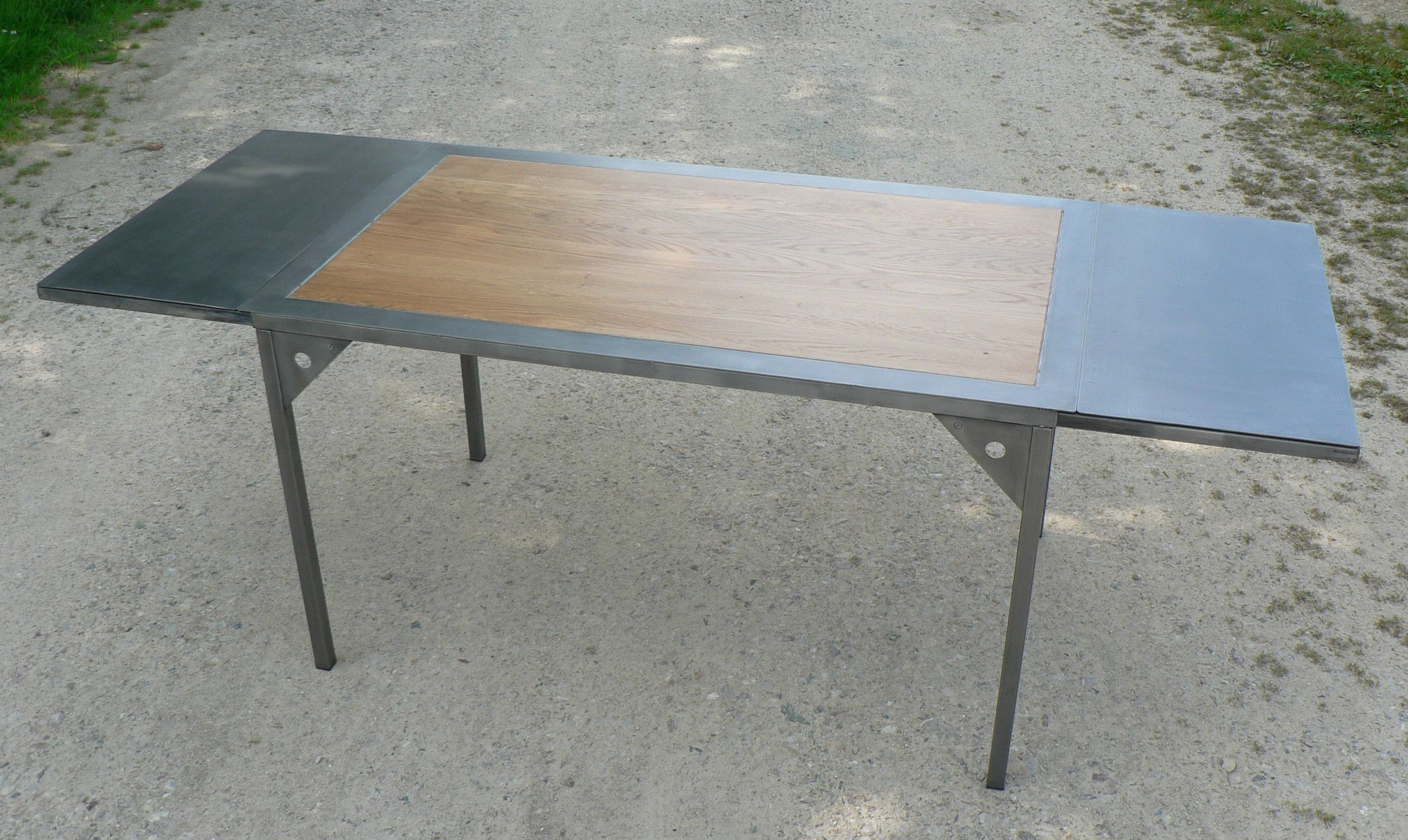 table avec rallonges metal et bois sur mesure Table