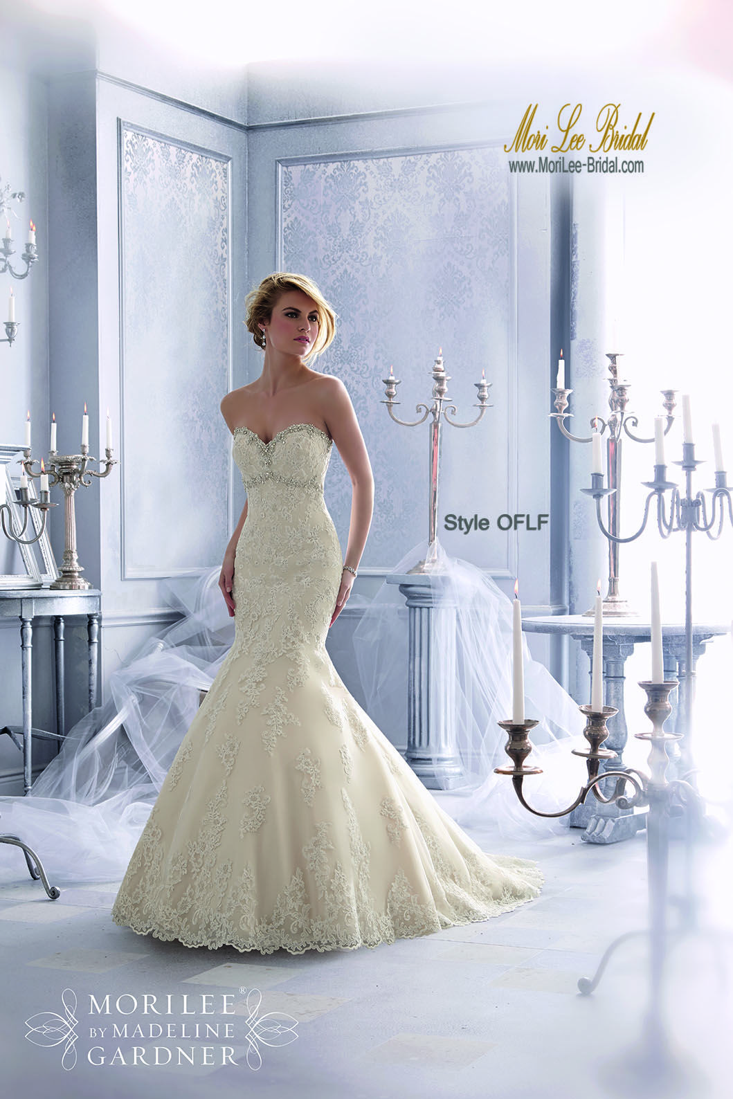 Color embroidered wedding dress  Style OFLF Diamante Beaing Trims the Embroidered Appliques on this