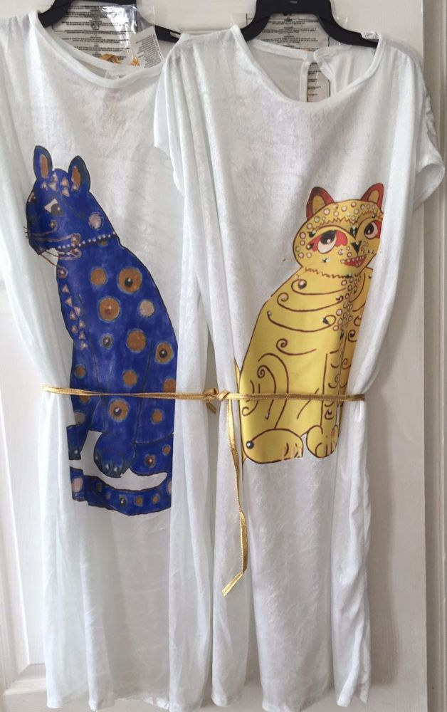 1a1a136fc07a5 Abba Cat Dress, 70 s themed Fancy Dress Costume white dress with a cat  motif on the front It s just like the one worn by the famous