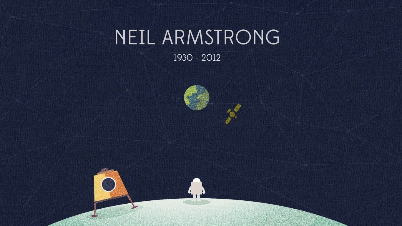 General 1366x768 Neil Armstrong minimalism astronaut space art space planet Moon Earth