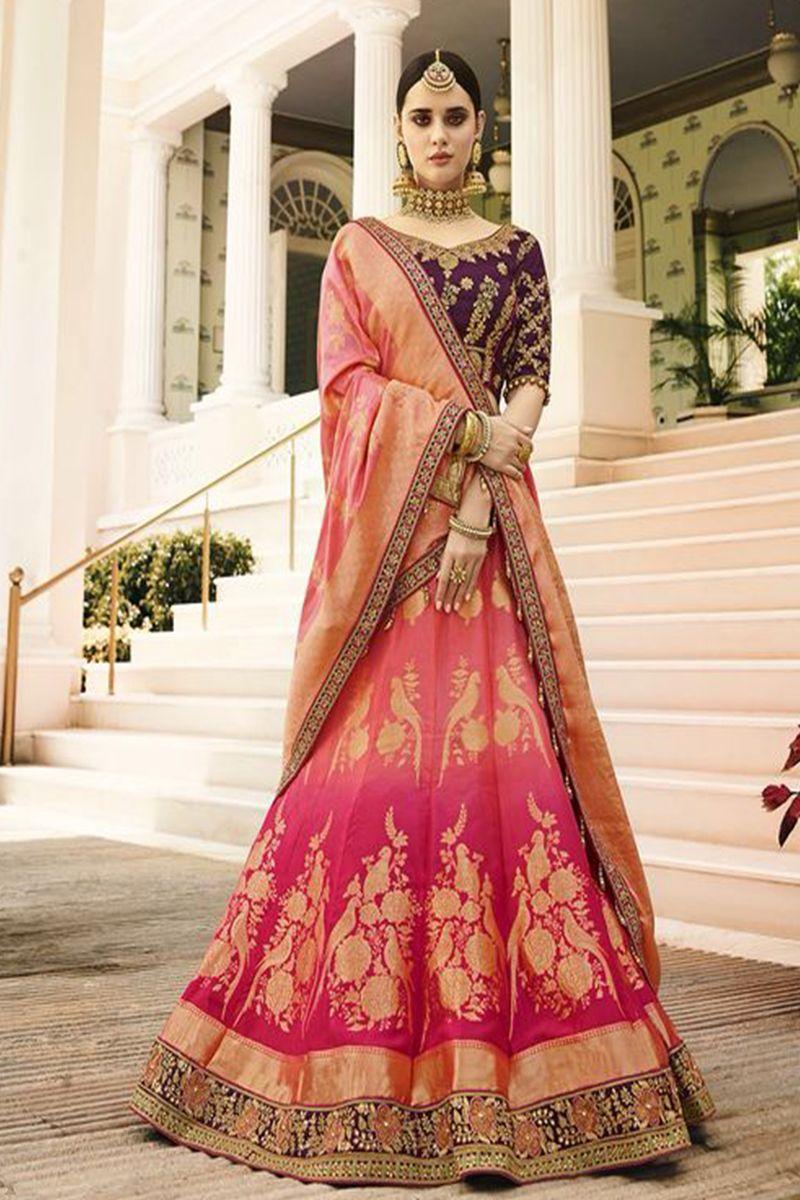 c33601e2b2 Virasat Alluring Pink & Rani Color Viscose Jacquard Fabric Bridal Lehenga  Choli Buy Now: