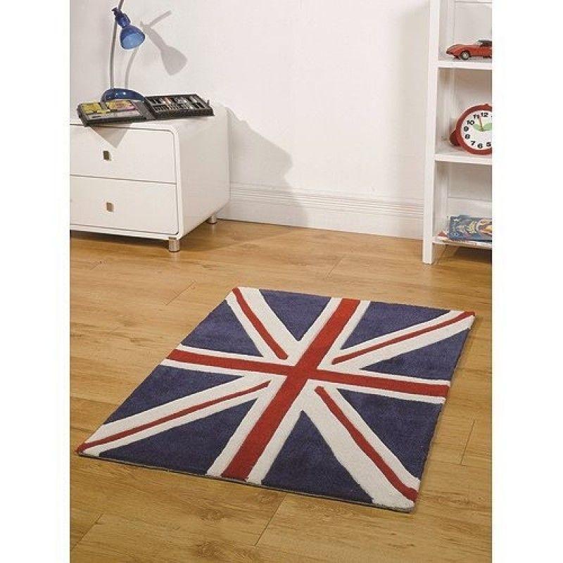 Tapis Union Jack bleu Mini Jack Flair Rugs