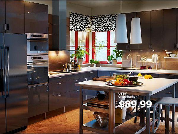 10 Ikea Kitchen Island Ideas Kitchens, Dark wood and Valance