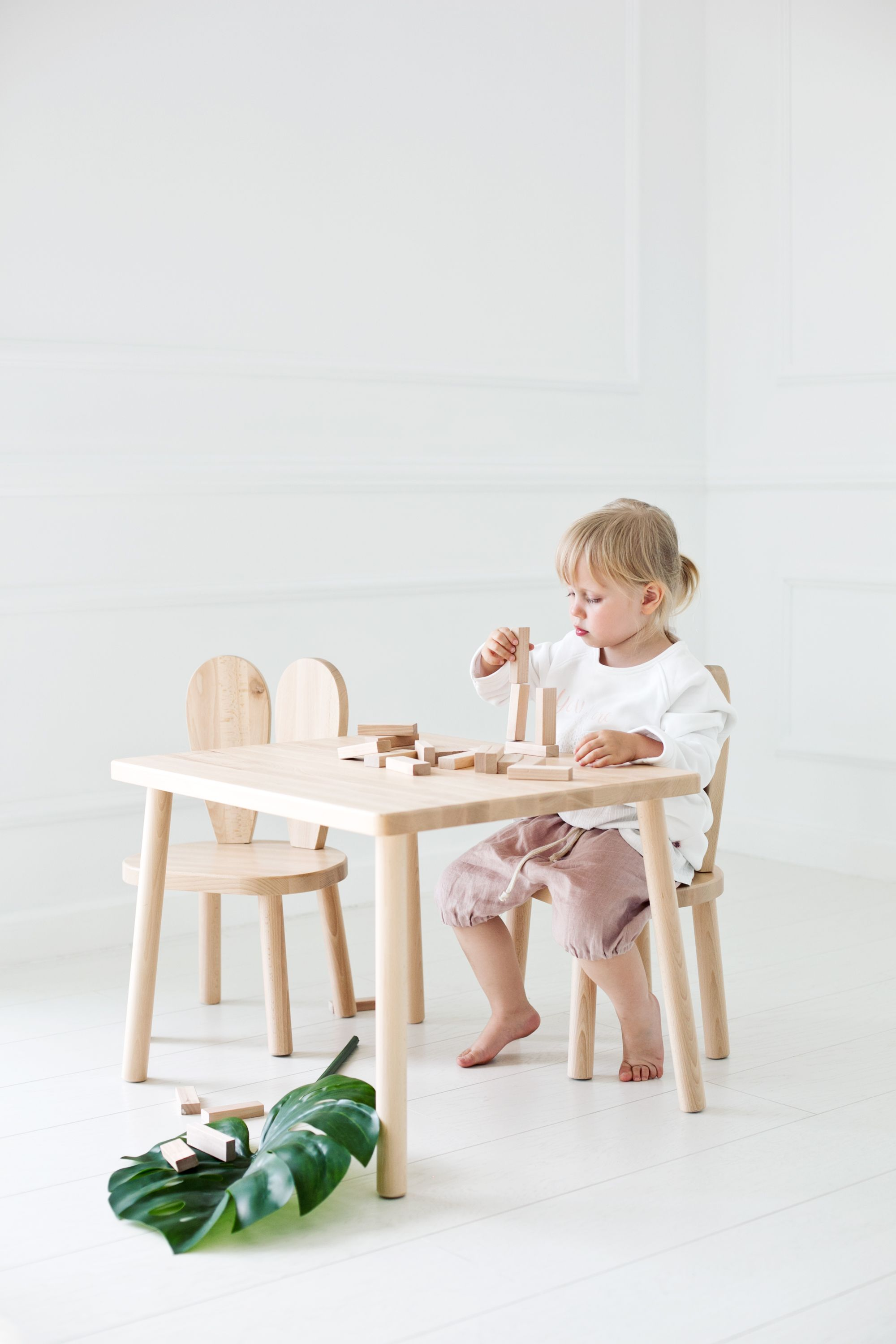 Bunny Kids Chair And A Table Set White Grey Natural Kids Chairs Kids Table And Chairs Childrens Table