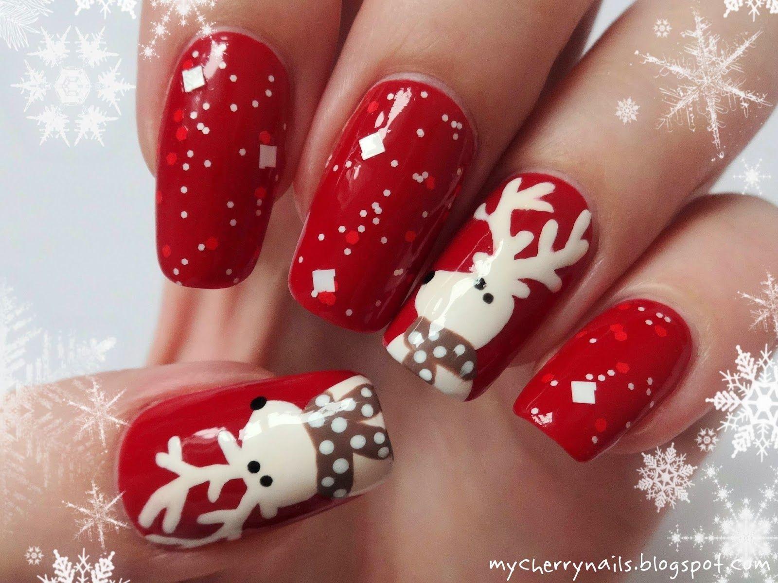 Cherry nails: Renifery   Winter and Christmas nails   Pinterest