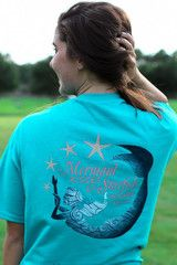 Southern Darlin Mermaid Kisses & Starfish Wishes Bow Bright Girlie T-S | SimplyCuteTees