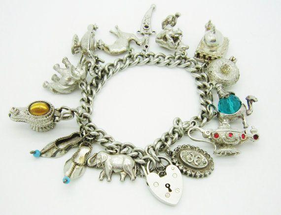 3be6a6240b457 Vintage Sterling Silver Arabian Charm Bracelet /Aladdin & Genie ...