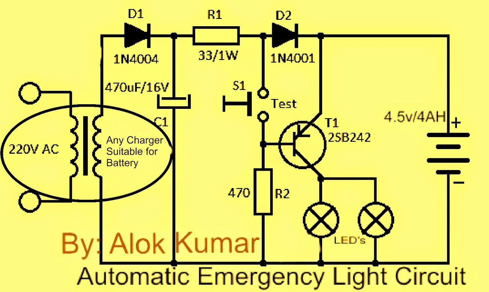 Make a automatic electronic emergency light circuit led light li-ion  battery emergency light