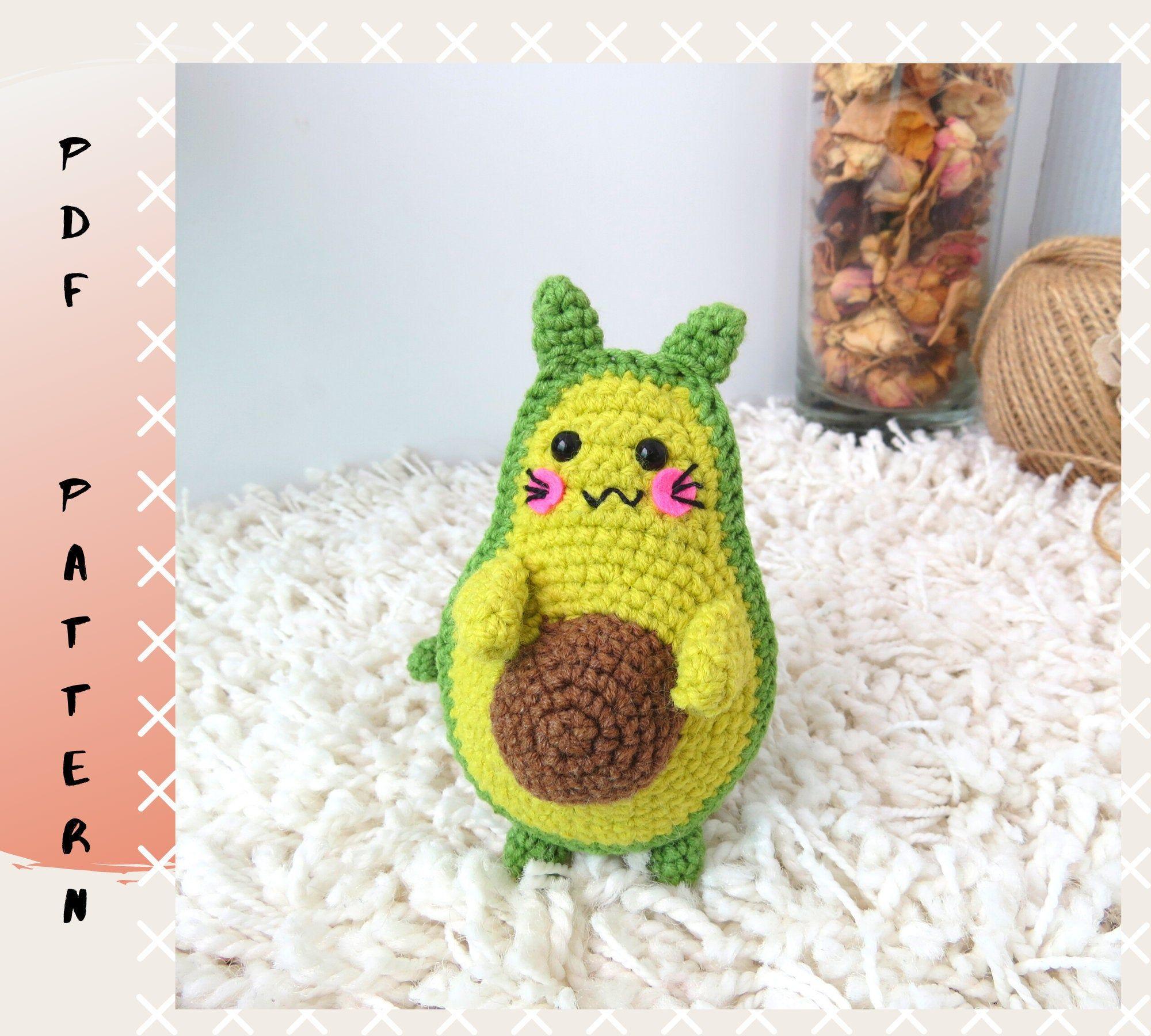 Crochet avocado cat pattern pdfamigurumi avocat tutorial