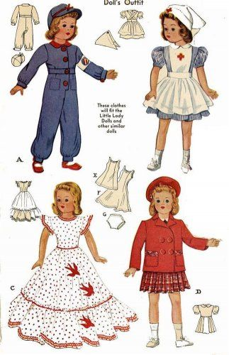 Here is a doll pattern to make a WWII Air Raid Warden Uniform and Red Cross Nurse Uniform.    Vintage Doll Clothes PATTERN 1015 for 15 in Little Lady Dolls by Effanbee