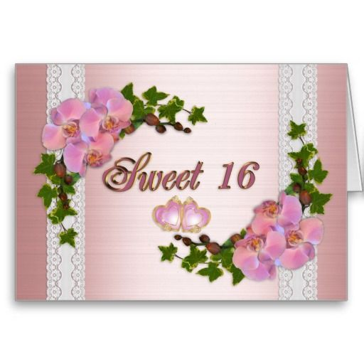 Sweet 16 Birthday party invitation orchids Cards