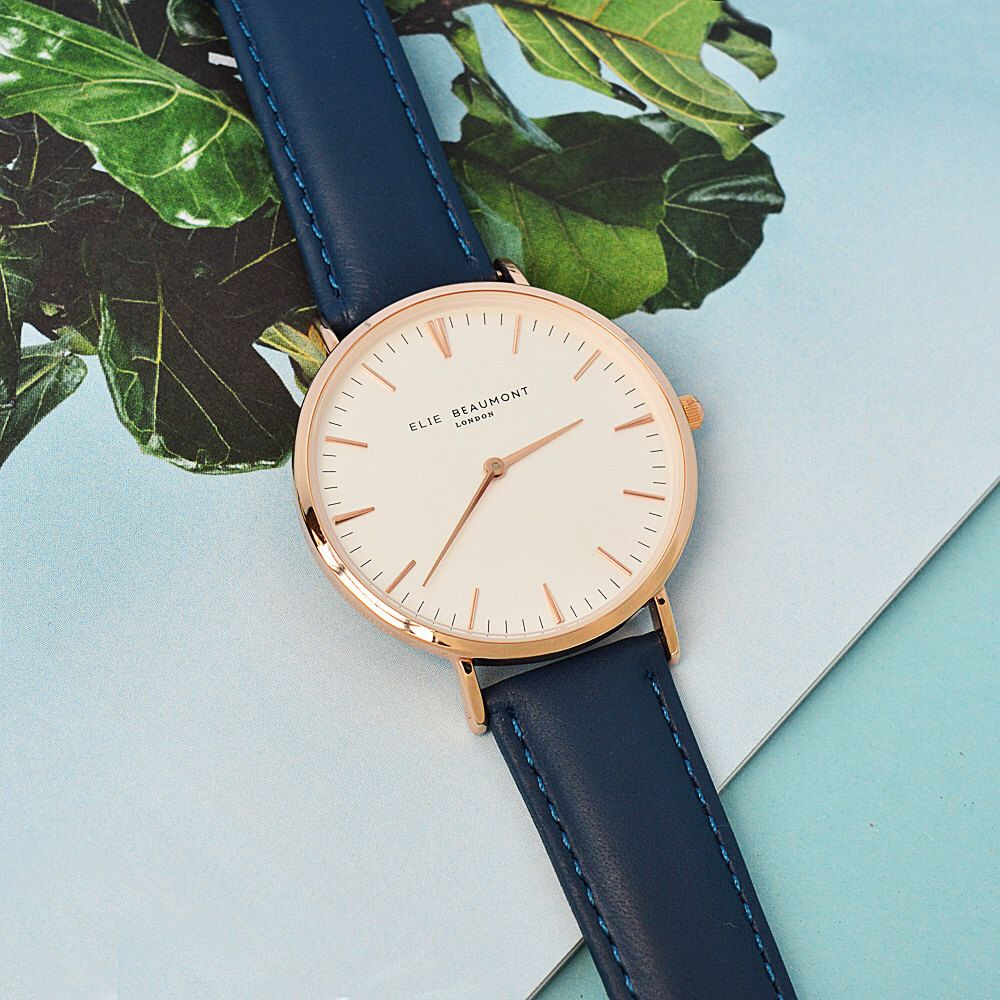 Modern Vintage Personalised Leather Watch in Navy San