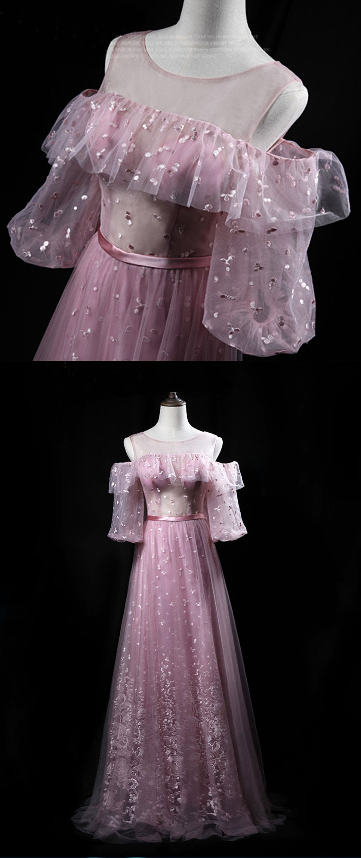Pink lace off shoulder long mid sleeve prom dress pink long evening