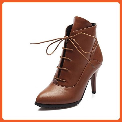 Women's Solid PU High-Heels Lace-up Pointed Closed Toe Boots